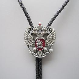großhandel gestreifte krawatten für männer Rabatt Original russische Double Headed Empire Eagle Strass Bolotie Halskette Neck Tie