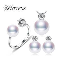 Lila jade perlenkette online-WATTENS Geometrie Süßwasser Perlen Schmuck-Sets, weiß schwarz lila Perle Sets, elegante PenantsNecklaceEarringsRings für Frauen