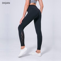 Wholesale Ms Fitness - DIQIAN Ms. cross-legged Sports Running Fitness Pants Mesh Stitching Stretch Yoga Pants
