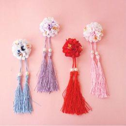 2019 клип лолита Free shipping fashion women chinese style flower hairpins lady's tassel side clips girl's Lolita  headwear for photography