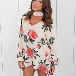 5dd63a9750 Venta al por mayor Blusa de gasa de las mujeres del otoño camisas florales  con camisas de manga larga camisas sexy blusas blancas tops moda para mujer  ...