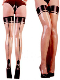 Wholesale Catsuit Custom - 2018 Exotic tight sexy Lingerie Catsuits slim products handmade latex Seam spliced Women transparent Socks Fetish Lean Stockings