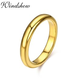 Wholesale Gold D Ring - whole saleThick Yellow Gold Color D Shape Band Engagement Finger Wedding Ring For Women Men Jewelry Gift bague anillos anel feminino Bague