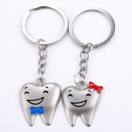 Wholesale Led Chain Lights Wholesalers - Wholesale Cartoon Teeth Keychain Dentist Decoration Key Chains Stainless Steel Tooth Model Dental Clinic Gift