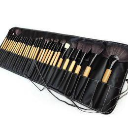 Pinceles de maquillaje 32 pcs online-Promoción 32 PCS Pro Makeup Cosmetic Brushes Juego de cepillos para cepillos de madera en funda de bolsillo TF