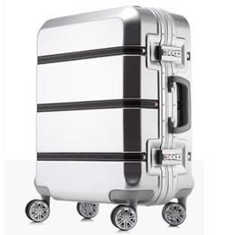 Canada 20/24/28 pouces spinner ABS PC PU épissure roulement à bagages sac Hardside cabine valise trolley valise cadre en aluminium brossé boîte de voyage Offre