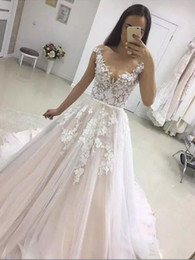 Wholesale Cheap Sexy Skirts - Capped Sleeve Summer Beach Wedding Dresses 2018 New Vintage Cheap A Line Wedding Dresses Bohemian Vestido De Novia Custom Bridal Gowns