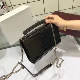 Wholesale Vintage Bag Patterns - freeship 2018 newest High Quality Vintage Crocodile pattern Women Handbag girl shoulder bags Top cow leather silver color Chain Y Bag