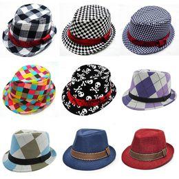 2019 großhandel neugeborene baby liefert Kinder Jazz Caps 21 Design Fedora Trilby Hut Mode Unisex Casual Hüte Jungen Mädchen Kinder Caps Kinder Zubehör Hüte