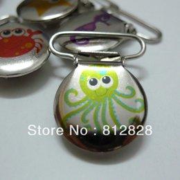 Wholesale Wholesale Enamel Paint - 25pcs 1'' 25mm Boys Prints Enamel Painted Under The Sea Octopus Circle pacifier Clips
