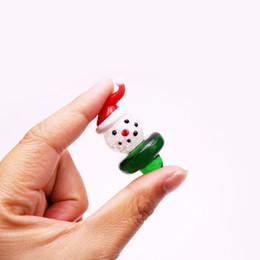 weihnachtsnagelarten Rabatt Quarz Banger Carb Cap mit Weihnachtsschneemann-Stil Glasblase OD 26mm für Quarz Nagel Öl Rig Bong Quarz Banger Dabber Carb Cap
