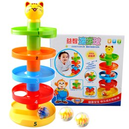 Wholesale Bell Balls - Baby Tower Puzzle Rolling Ball Toy Bell for Kids 3D Puzzle Tower Development Educational Toy Rolling Ball for Children Baby Toy BBA255