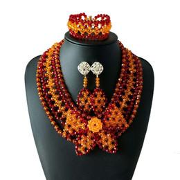 Canada Rouge Orange Cristal Perles De Mariée Bijoux Ensembles De Mode Cadeau De Mariage Africain Dubaï Luxe Collier Ras De Cou Collier Bracelet Boucles D'oreilles pour Wome Offre