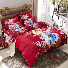 Wholesale Pure Linen Bedding - 3D Watercolor Red and Blue Flowers Rose Bedding Set Queen Size & King Size Duvet Cover Pure Cotton Bed Linens Bed in a Bag 4pcs