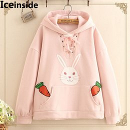 Wholesale Ladies Cashmere Pullover - Japanese Woman Cute Carrot Rabbit Cashmere Velvet Sweatshirts With Ears Women Hooded Hoodie Lady Pullover Hoody Femme Pull Tops
