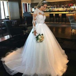 Wholesale Sexy Hochzeitskleid - hochzeitskleid Long Sleeves Lace A Line Wedding Dresses Bridal Gowns Vintage O-Neck Applique vestido de noiva sereia Bridal Gown