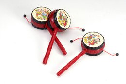 Wholesale Wholesale New Toys China - Wholesale- New Baby Drum Hammer Rattle Baby Voice Toys Red China Tranditonal Toys Rattled-Drums Sets Hammer Toys for Fun