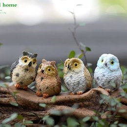 Wholesale Cute Figurines Wholesale - Realistic Christmas Decoration Garden Ornament Cute animal owl Figurine Animal Fairy Dollhouse Plant Decor Accessories wn413