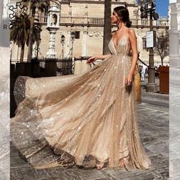 Robes d'été longues en Ligne-ROGREZ Sexy Dress Golden Voile Bandage Maxi Robe Longue Pour Les Femmes Dîner De Fête Élégant D'été robes de fiesta 2018