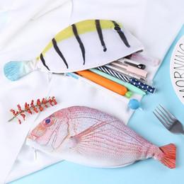 tuch bleistift fällen Rabatt Nette Bleistift Tasche kreative Simulation Fisch Student Federmäppchen Büromaterial stricken Tuch Stift Tasche Geschenk