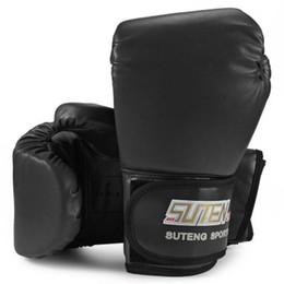 Wholesale kickboxing gloves - New 3 Colors SUTEN 1 Pair Boxing Gloves Mitts PU Leather Mitten Boxing Glove Kickboxing Training Boxing Gloves Male Gloves +B