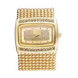 Wholesale chains wrist watch - Lady Women Watch Crystal Dial Watches Rectangle Alloy Beads Chain Band Bracelet Watch Analog Quartz Wrist Watches Gifts LL@17