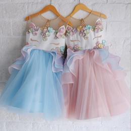 Wholesale Lace Skirt Children - Hot Sale Summer Unicorn Children Princess Dress Kids Girls Skirt Flower Color Wedding Dress Free Shopping