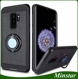Wholesale grey market - South Market Hottest Models Phone Case for ZTE Blade A602 Blade V9 Vita Z970 Z965 N9136 Suction Car Mount Hybird Dual Layers Case with Ring