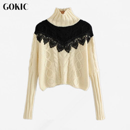 Wholesale Warm Elegant Sweaters - GOKIC Women Elegant Turtleneck knitted sweater 2017 warm winter Casual Twist Pullover Female Autumn Loose lace patchwork Sweater