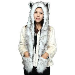 luvas de panda Desconto DOUBCOW Bonito Da Pele Do Falso Panda Lobo Urso Polar Padrão Animal Chapéus com Luvas de Patas para Mulheres Dos Homens Adolescentes Inverno Gorro De Lã