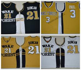 Chemises de démon en Ligne-Vintage maillots de basket-ball College Tim Duncan # 21 Wake Forest Demon Deacons Noir blanc Chris Paul # 3 chemises de basket-ball cousues à l'or