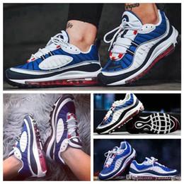 new concept 567c0 9f510 Nuevo Blanco Azul Gris Amarillo maxes OG 98 Gundam Jogging Zapatillas de  running 98s Negro Rojo Azul marino Fluorescente Verde Athletic Sports 97  Sneakers ...