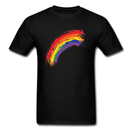 175d73c560f45 2018 Pop Simple Style Men T-shirt Rainbow Paint Short Sleeve Black Tee  Shirts O Collar Custom Tops Plus Size