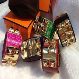 Wholesale Wide Silver Bangles - 2017 Low wholesale H crocodile pattern four studded leather rivet leather bracelet exaggerated punk wind wide bracelet fashion H bracelet