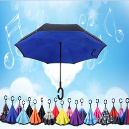 Wholesale Fold Cars - 46 Colors Multipose Creative Folding Inverted Umbrellas With C & J Handle Double Layer Rainproof Windproof Umbrella For Car Beach YM001-046