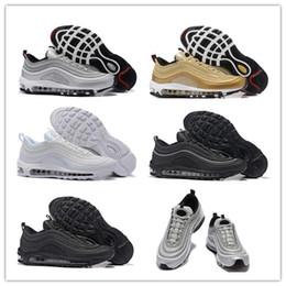 Wholesale 3m shoes laces - 2018 97 OG Tripel White Metallic Gold Silver Bullet WHITE 3M Premium Running Shoes Men Women Sport Shoes Sneakers With Box