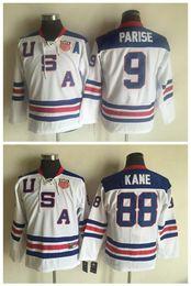 Usa olympic kane jersey online-Maglie Youth Kids 2010 Olympic Team USA 88 Patrick Kane 9 Zach Parise White Boys Maglie retrò da hockey