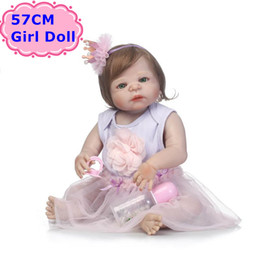 Wholesale Fashion Design Dolls - NPK Doll New Design 57CM Full Body Silicone Bebe Reborn Boneca Alive Baby Princess In Nice Dress Girls Playmate Toys Child Gifts