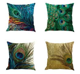 2019 coussins de paon Taie d'oreiller en lin décoratif plume de paon Vintage 45 * 45 cm canapé housse de coussin décor à la maison taie d'oreiller textile à la maison de vie coussins de paon pas cher