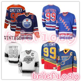 Wholesale Nhl Hockey Rangers - 99# Wayne Gretzky Edmonton Oilers Hockey Jersey St. Louis Blues Los Angeles Kings New York Rangers NHL Jerseys Embroidery And 100% Stitche