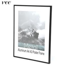quadros de cartaz a4 Desconto VCC Frame Wall Art Decorativo, Preto De Alumínio A4 A4 Cartaz Quadro De Parede Para Pendurar Na Parede, Moldura De Metal, Quadro De Certificado,