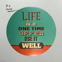 Wholesale American Meaning - DL-what's means life tray 12 Inch Embossed Metal Nostalgia Circular plate