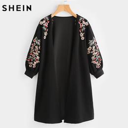 2019 fiore m SHEIN Blossom Vescovo ricamato cardigan manica autunno nero colletto maniche lunghe donna Top moda lungo cardigan S118 fiore m economici