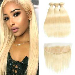 Wholesale 613 Blonde Closure - 613 Blonde Bundles Brazilian Remy Straight Human Hair Lace Frontal Closure With Bundles 613 Blonde Human Hair 3 Bundles With Closure