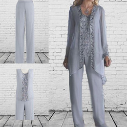 Wholesale Navy Blue Beach Pants - Cheap Mother Of The Bride 3 Piece Pant Suit Chiffon Beach Wedding Mother's Groom Dress Long Sleeves Beads Mothers Formal Wear