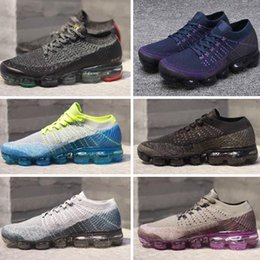 Wholesale R Medium - purple black Vapormax Running Shoes fashion Mens Womens white r yellow blue vapormaxs knit cs 2 trainers Athletic moc sneakers Sports Shoes