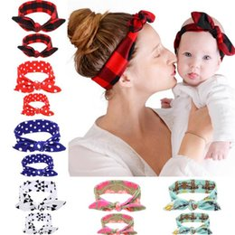 Wholesale Baby Ear Band - 2018 best selling printed mother and child suit fashion parent-child rabbit ear hair band popular baby hair band Hair Accessories 0205039