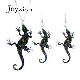 Gecko halsketten online-Joywish Punk Rock Stil Schmuck Silber Farbe Lange Kette Mit Bunten Gecko Form Anhänger Halskette Und Ohrringe Für Frauen