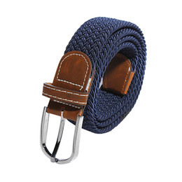 Морская пряжка онлайн-LBFS Hot Men Elastic Stretch Woven Canvas Leather Pin Buckle Waist Belt Navy