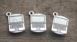 2019 ordinateur portable argent 15pcs / lot - Breloques pour ordinateur portable, Antique Silver Tibétain Tone 3 D Charm pour ordinateur portable pendatns 14x21mm promotion ordinateur portable argent